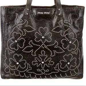 VGUC Miu Miu Studded Crackled Leather Tote